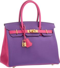 93689d1335 Hermès Special Order Horseshoe 30cm Parme  amp  Rose Tyrien Chevre Leather Birkin  Bag with Gold