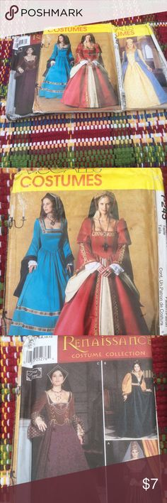 Cosplay - Costume - Patterns- All 3 UNCUT Two are Mc Calls. One is Simplicity.  🎭🎭🎭Renaissance Style Patterns in Great Condition!  🌸🌼See comments for sizes🌼🌸 Other