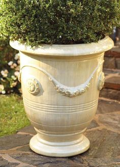 Grace your outdoor space with the elegant Classic Anduze Planter; durable ceramic adorned with 16th Century medallion details.