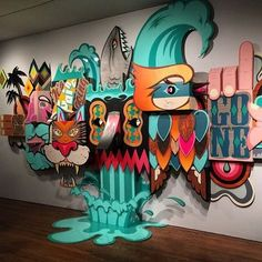 """Tight angle shot of my 30ft x 12ft """"Going, Going, Gone"""" installation at the Long Beach Museum of Art (@lbmaorg ) catch it before it's gone October 25"""