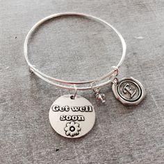 Get well soon, Silver Bracelet, Charm Bracelet, Fighter, Cancer, Leukemia, Healing, Hospitalized, Silver Jewelry, Gifts, Sickness, Illness by SAjolie, $20.95 USD