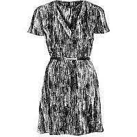 Black monochrome print belted tea dress