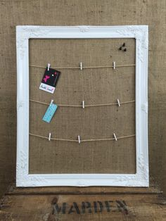 BULLETIN BOARD // WHITE FraMed PEg Board // by AnthiLeoniDecor