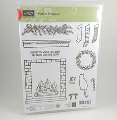 Stampin Up FESTIVE FIREPLACE Photopolymer Holiday Christmas Winter Stamp Set  #StampinUp