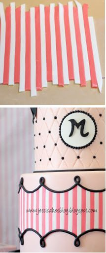 """Trade secret"" for applying horizontal stripes to a cake (Jessicakes)."