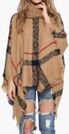 Plaid Poncho In Taupe ❤︎