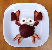 Serve your kids this fun fruit snack and they won't be crabby! Perfect for a summer or beach theme!