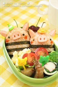 couple pig onigiri bento