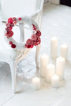 Christmas red doors, christmas wreaths, marie claire, christmas colors, valentine day, christmas decorations, white christmas, candl, yarn wreaths