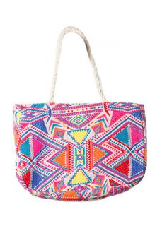 Judith March Aztec Jacquard Tote with Rope Strap (Pink Multi) – DejaVu
