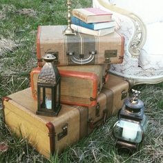 North Country Vintage Suitcases for End Table