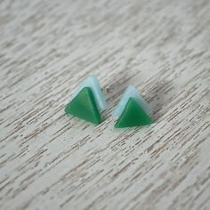 Green and Blue Triangle Polymer Clay Stud Earrings by LittlestOven