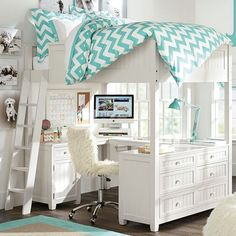 Beadboard Loft Bed | PBteen (but it doesn't have to look teenager-y)