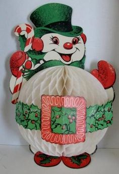 Vintage Christmas Honeycomb Decoration ~ Jolly Snowman w/ Holly Belt