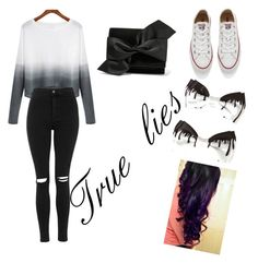 """""""True lies"""" by lozza-b15 on Polyvore featuring Topshop, Converse, Victoria Beckham, women's clothing, women's fashion, women, female, woman, misses and juniors"""