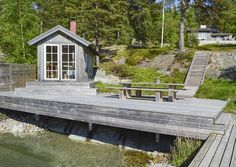 Dockhouse Lake Landscaping, Water House, Lake Cabins, Lake Cottage, Boat Dock, Decks And Porches, Country Style, Saunas, Outdoor Spaces