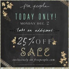 The holiday shopping specials aren't over yet! Today only, in celebration of cyber Monday, take an additional off all sale online. It's also the final day for free standard shipping on all orders – happy shopping! Email Newsletter Design, Email Design, Email Newsletters, Sale Banner, Web Banner, Banners, Free People Blog, Cyber Monday Deals, Banner