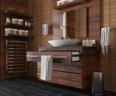 salle de bain en bois meuble miroir idée