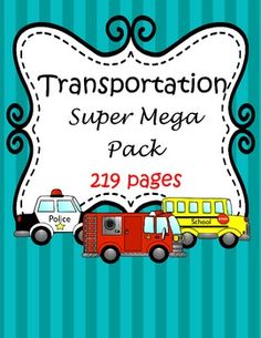 This is a HUGE mega pack of color and b/w centers and activities to complement your Transportation theme unit. Age range from preschool through 1st grade. Click to see a list of the 33 activities $
