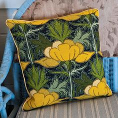 Buttercups, a beautiful needlepoint kit from Raymond Honeyman featuring this bright yellow flower. Tapestry Online, Tapestry Kits, Art Nouveau Flowers, Needlepoint Kits, Le Point, Buttercup, Cross Stitching, Textile Art, Cotton Canvas