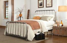 Metal Bed Frame Industrial Finish Iron Full Queen King Size Headboard Bedroom