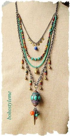 Bohemian Beaded Jewelry Colorful Layered Necklace Modern #diyjewelry