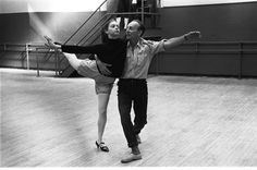 "New York City Ballet rehearsal of ""Slaughter on Tenth Avenue"" with George Balanchine and Suzanne Farrell, choreography by George Balanchine (New York)"