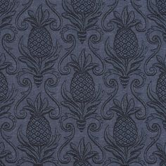 Delft  Dark Blue and Navy Pineapple Beach Brocade Swirl Upholstery Fabric