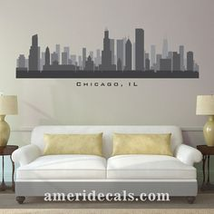 New York City Skyline Silhouette Wall Decal Custom Vinyl Art - Custom vinyl stickers chicago