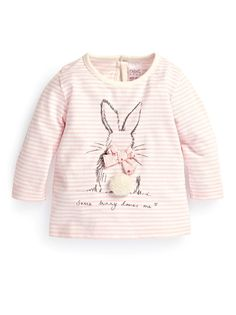 Stripe Bunny T-Shirt Pale Pink #Easter #bunny #pink