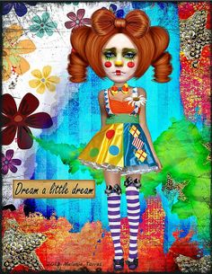 Circus Clown Girls Art Print Dream Wall Art by FindingExpression, $12.00