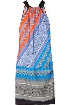Derek Lam|Printed silk-habotai halterneck dress|NET-A-PORTER.COM - StyleSays