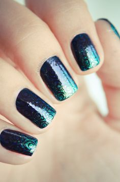blue / green glitter gradient nails with black detail overlay