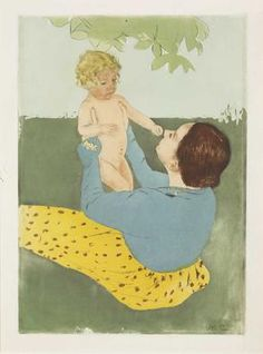 "Mary Cassatt ""Under the Horse-Chestnut Tree"" 1896-97, drypoint and aquatint in colors"