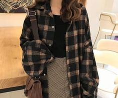 Buy Whoosh Oversized Plaid Shirt YesStyle Source by outfit Vintage Outfits, Retro Outfits, Cute Casual Outfits, Plaid Shirt Outfits, Hoodie Outfit, Teen Fashion Outfits, Mode Outfits, Fashion Pants, Fashion Skirts