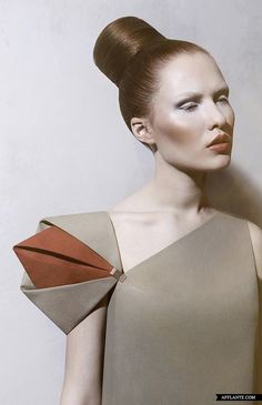 Sculptural Fashion // Monochrome Fashion // detail of a dress with simple architectural lines and asymmetrical color block of neutrals w/ a pop of orange // by DZHUS // Overground AW'2013-2014 Fashion Collection, Afflante.com