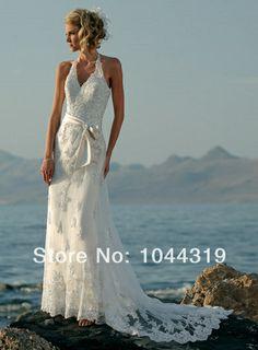 New Free Shipping Beading V Neck Halter Train Applique Bows White  Ivory Beach Wedding Dresses Modern Style Open Back 2014 AR42