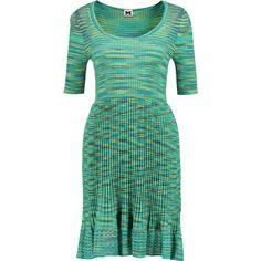 M Missoni Plissé crochet-knit mini dress ($235) ❤ liked on Polyvore featuring dresses, turquoise, crochet knit dress, multi colored dress, short colorful dresses, crochet mini dress and short dresses