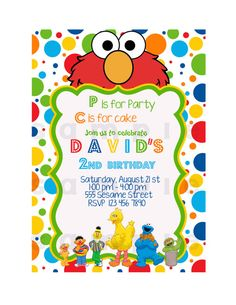 Sesame Street Invitation Printable By JCpartyprint 699 Elmo Invitations