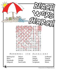 Beach Word Search Answer Key