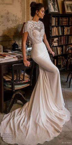 julie vino fall 2018 havana short fringe sleeves jewel neck heavily embellished bodice elegant fit and flare sheath wedding dress chapel train (10) mv -- Julie Vino Fall 2018 Wedding Dresses