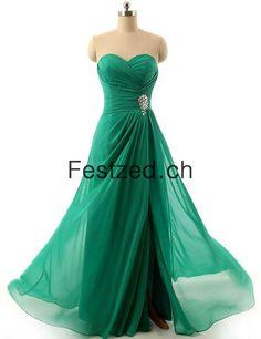 A-Linie Herzausschnitt Grün Chiffon Abendkleider
