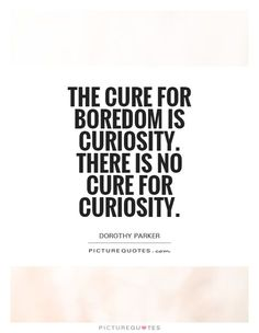 The cure for boredom is curiosity. There is no cure for curiosity. Boredom quotes on PictureQuotes.com.