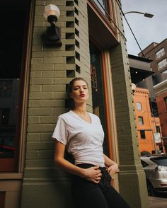 Outdoor Urban Portrait Photography brick, hips forward Beautiful by Zach Leung