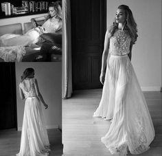 Bruidsjurk prachtig bohemien model uit 2 delen met mooi kant