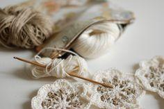 Crochet work, linen and cotton