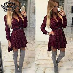 Women's Shirt Dress Irregular Long Sleeve Mini Vestidos
