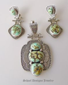 Rare Blue Moon Turquoise & sterling silver set by DTroutman | www.schaefdesigns.com