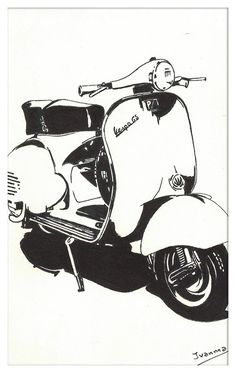 Motos Vespa, Vespa Scooters, Vespa Illustration, Graphic Design Illustration, Motorcycle Art, Bike Art, Scooter Drawing, Vespa 150, Tinta China
