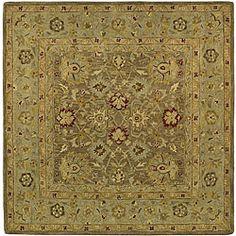 Handmade Ancestry Tan/ Ivory Wool Rug (8' Square) - Dining Room